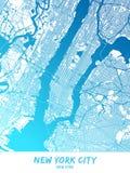 Miasto Nowy Jork, Nowy Jork - mapa Plakatowy projekt royalty ilustracja