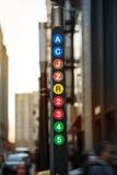 Miasto Nowy Jork metra linii znak Zdjęcia Royalty Free