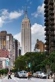 Miasto Nowy Jork, NY/USA - około Lipiec 2015: Empire State Building w Manhattan fotografia royalty free