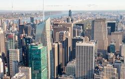 MIASTO NOWY JORK, PAŹDZIERNIK - 23, 2015: Widok z lotu ptaka środek miasta Manhatt Zdjęcia Royalty Free