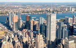 MIASTO NOWY JORK, PAŹDZIERNIK - 23, 2015: Widok z lotu ptaka środek miasta Manhatt Zdjęcia Stock