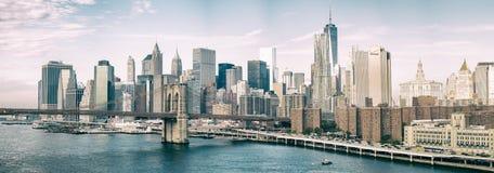 MIASTO NOWY JORK, PAŹDZIERNIK - 22, 2015: Lower Manhattan linia horyzontu od M Obraz Royalty Free