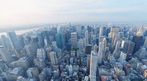 MIASTO NOWY JORK, PAŹDZIERNIK - 25, 2015: Widok z lotu ptaka miasto linia horyzontu T Obrazy Stock