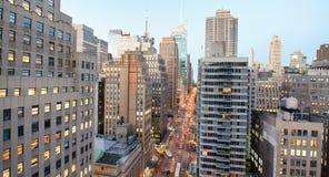 MIASTO NOWY JORK, PAŹDZIERNIK - 23, 2015: Widok z lotu ptaka Manhattan od Zdjęcie Stock