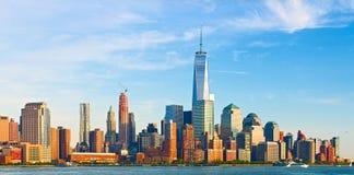 Miasto Nowy Jork, pieniężni biznesowi budynki Zdjęcia Royalty Free