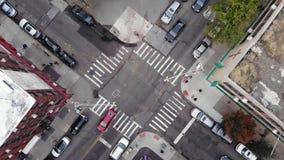 Miasto Nowy Jork skrzyżowanie z pedestrians przejściem na Manhattan zbiory