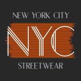 Miasto Nowy Jork sztuka Uliczny grafika styl NYC Moda Obrazy Stock