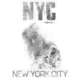 Miasto Nowy Jork sztuka Uliczny grafika styl NYC z dziewczyna portretem Moda elegancki druk Szablon odzież, etykietka, plakat, sz Fotografia Stock