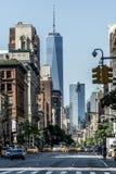 Miasto Nowy Jork taxi ulic usa Duża Jabłczana linia horyzontu Obraz Stock