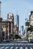 Miasto Nowy Jork taxi ulic usa Duża Jabłczana linia horyzontu Zdjęcie Royalty Free