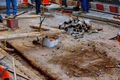 MIASTO NOWY JORK, usa - 04, 2017: Budowa Drogi i Drogowe pracy w Manhattan Obrazy Stock