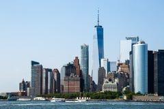 Miasto Nowy Jork, usa/- JUL 14 2018: Lower Manhattan linii horyzontu widok obraz stock