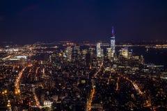Miasto Nowy Jork usa linia horyzontu nocą Duży Apple Obrazy Stock