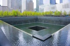 Miasto Nowy Jork, usa - Maj 01, 2016: Pomnik przy punktem zerowym wybuchu, Manhattan, upamiętnia terrorystycznego ataka Wrzesień Zdjęcie Stock