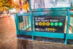 MIASTO NOWY JORK, WRZESIEŃ - 2016: Wejście znak zjednoczenie kwadrat su Fotografia Stock