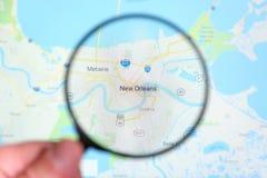 Miasto Nowy Orlean, Luizjana na pokazu ekranie przez powi?ksza? - szk?o zdjęcie stock
