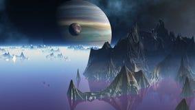 Miasto obcy i dwa planety ilustracji
