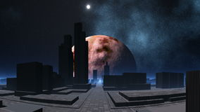 Miasto obcy i pulsing UFO ilustracji