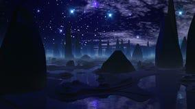 Miasto obcy i UFO skrzyżowanie nieba royalty ilustracja