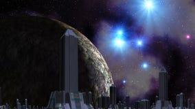 Miasto obcy, ogromna planeta i UFO, ilustracja wektor