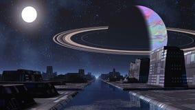 Miasto obcy, rzeka i ogromna planeta, ilustracja wektor
