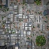 Miasto odgórny widok Zdjęcie Stock