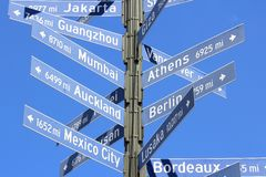 Miasto odległości znak zdjęcia royalty free