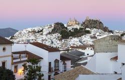 Miasto Olvera przy półmrokiem Zdjęcia Stock