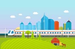 Miasto, otoczenia, krajobraz, pola i gospodarstwa rolne, metro, pociąg, linia kolejowa, budynki ilustracja wektor