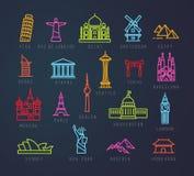Miasto płaskie neonowe ikony Obraz Stock