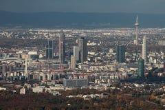 Miasto panorama, powietrzna fotografia frankfurt magistrala Germany zdjęcie royalty free