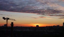 Miasto panorama przy wschodem słońca Obraz Royalty Free