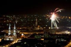 Miasto panorama z fajerwerkami Zdjęcia Stock