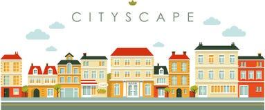 Miasto panoramy uliczny tło w mieszkanie stylu ilustracja wektor