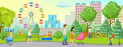 Miasto parka Barwiony pojęcie ilustracja wektor