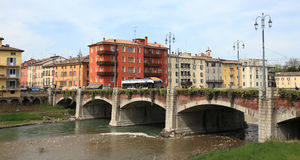 Miasto Parma i rzeka fotografia stock