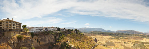 Miasto piękna panoramiczna fotografia Ronda. Zdjęcie Royalty Free