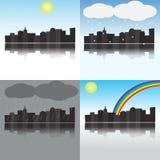 Miasto pod różnymi warunek pogodowy Zdjęcia Royalty Free