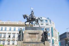 Miasto Praga, republika czech W centrum miasta zabytek z rycerzem i koniem 2019 25 fartuch Podr??y fotografia fotografia stock