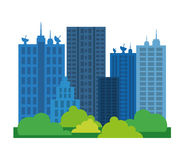 Miasto projekt budynek ikona Kolorowa ilustracja, wektor ilustracji