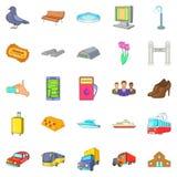 Miasto przewiezione ikony ustawiać, kreskówka styl Fotografia Royalty Free