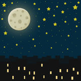 Miasto przy nocą również zwrócić corel ilustracji wektora Zdjęcia Stock