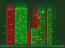 Miasto przy nocą Wektorowa ilustracja bloki mieszkaniowi w mieście przy nocą ilustracja wektor