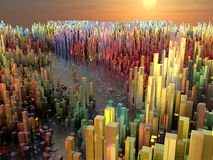 Miasto przyszłość, drapacze chmur, nauki fikcja Fotografia Stock