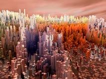 Miasto przyszłość, drapacze chmur, nauki fikcja Zdjęcia Stock
