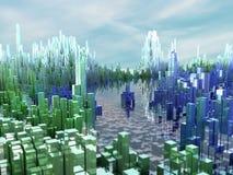 Miasto przyszłość, drapacze chmur, nauki fikcja Zdjęcia Royalty Free