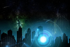 Miasto przyszłość nad przestrzenią i hologramami Zdjęcia Royalty Free