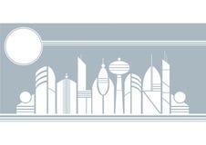 miasto przyszłości zlokalizowane w naszym zastępuje domy kuli gwożdżą ich reprezentacji Zdjęcie Royalty Free