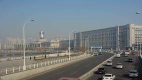 Miasto ruchu drogowego czasu upływ Tianjin stacja kolejowa zbiory