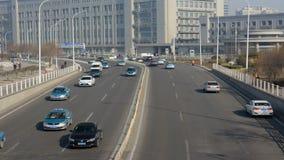 Miasto ruchu drogowego czasu upływ w Tianjin mieście zdjęcie wideo